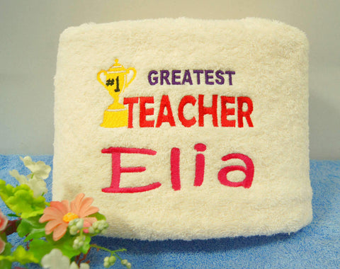 Teacher's Day Embroidery Towel