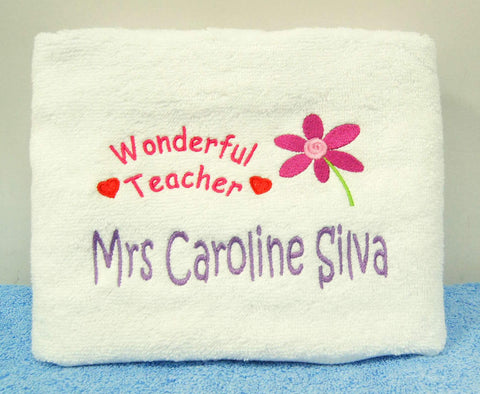 Personalised Teacher's Day Embroidery Towel Gift