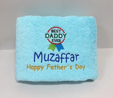 Light blue towel with Best daddy ever words