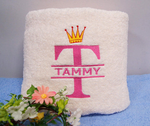 Towel with personalised design