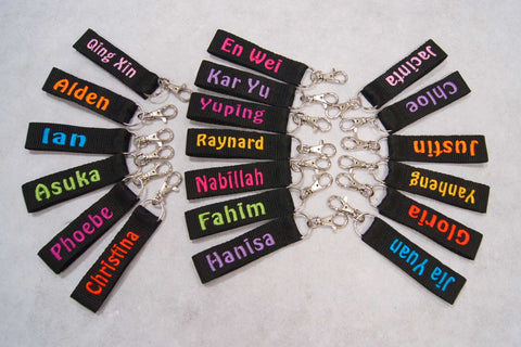 Keychains with name embroidery