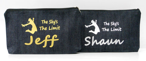 Denim Pouch with graduation prints