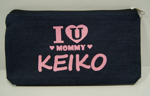 Denim pencil case with customized print