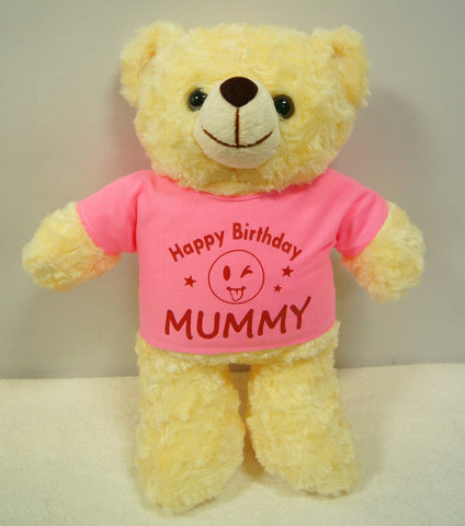 personalised Teddy Bear with pink shirt printing on