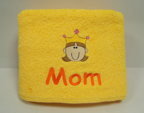 Yellow Towel with name embroidery