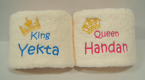 personalised couple towel