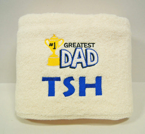 Personalised embroidery towel with greatest dad design