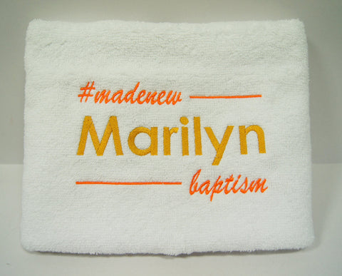 Personalized white towel with name embroidery for baptism gift