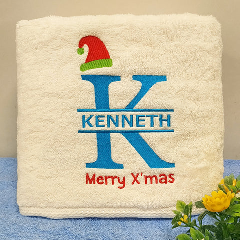 Personalised Towel Gift with Christmas design