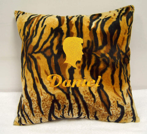 Personalised faux fur cushion with make head design