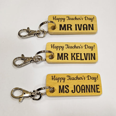 personalised wooden keychain for teachers day