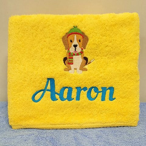 Puppy deisgn on towel
