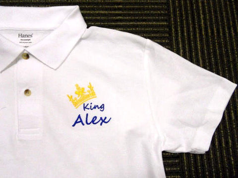 pesonalised polo shirt with king crown design