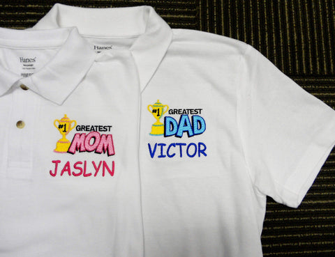 Personalised polo shirt embroidery for mom and dad