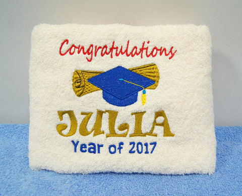 Beige Towel with Graduation hat