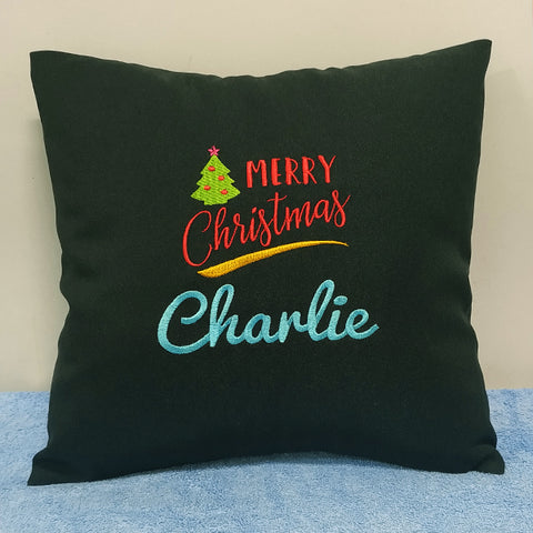 Personalised Cushion with Christmas design on it