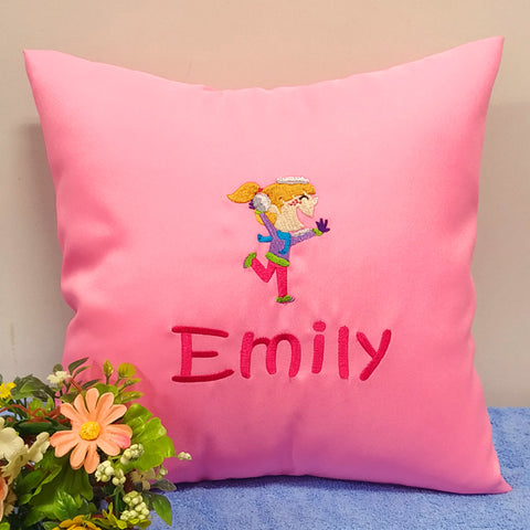 Cartoon design on pink cushion