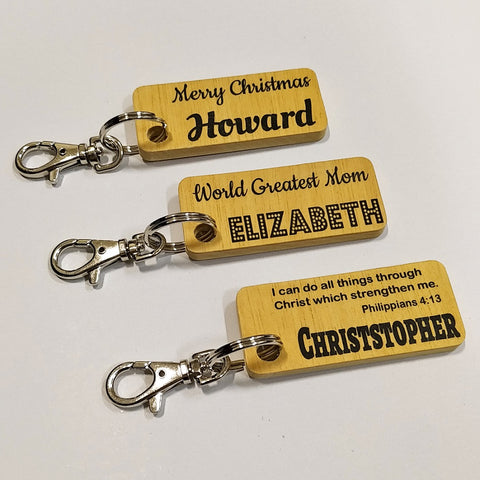 Wooden Keychains with name prints