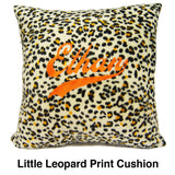 Personalised fur cushion with embroidery