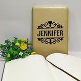 Personalised notebook, gold, with name print