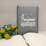 Personalised notebook, grey, with name print