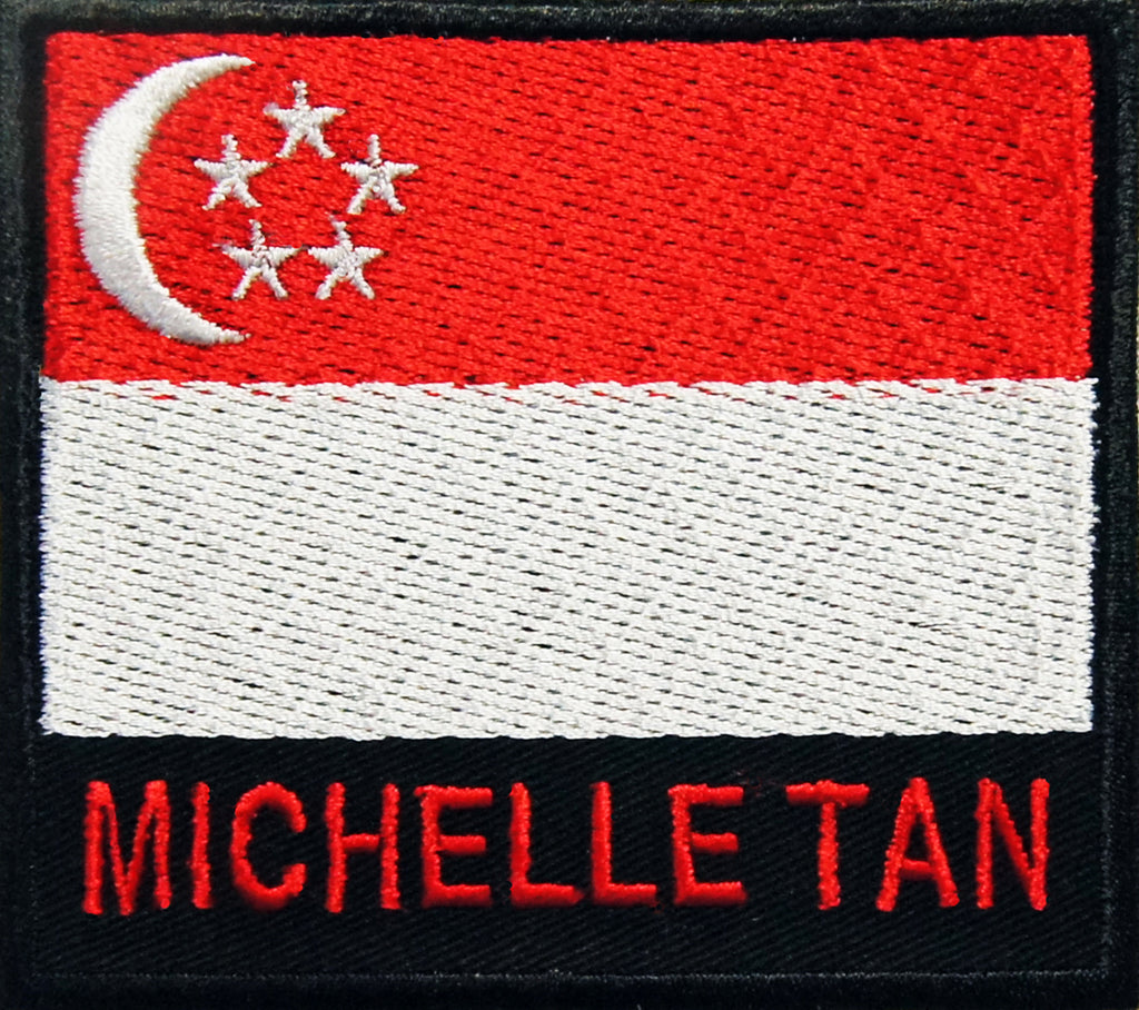 Personalised Country Flag Iron-On Name Badge