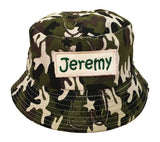 Green army camouflage sun hat