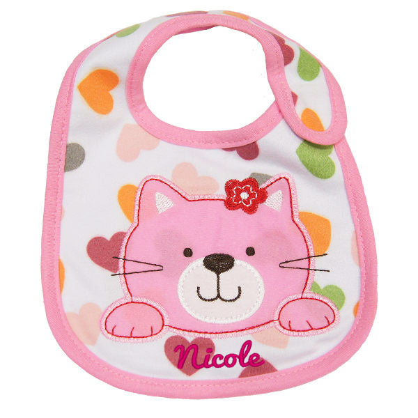 Personalised pink baby bib cat design with embroidery name