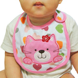 Personalised pink cat baby bib