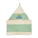 Personalised baby hooded towel embroidery - Cadet Blue