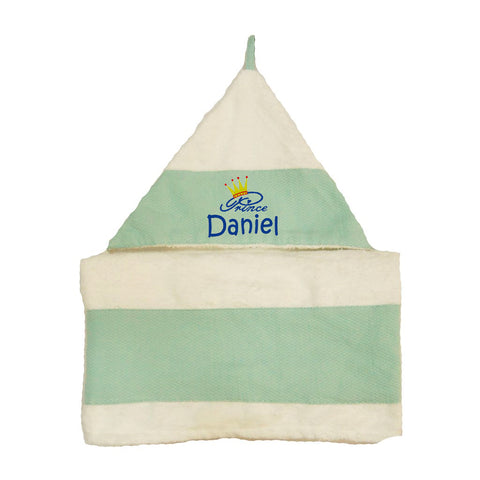 Blue hooded towel with name