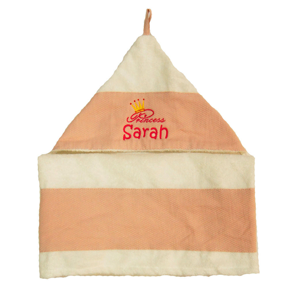 Personalised baby hooded towel embroidery - Peach Pink