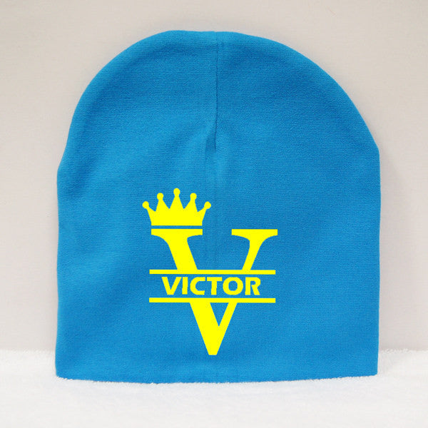 Personalised Blue Baby Beanie with name printing 52bd2f0fe68