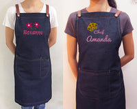 Personalised denim apron with embroidery