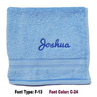 Personalised blue face towel with embroidery name
