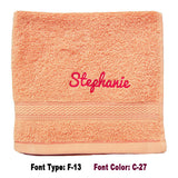 Personalised peach pink face towel with embroidery name