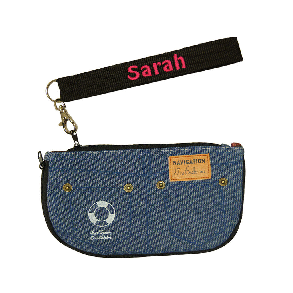 Personalised jean purse embroidery name strap