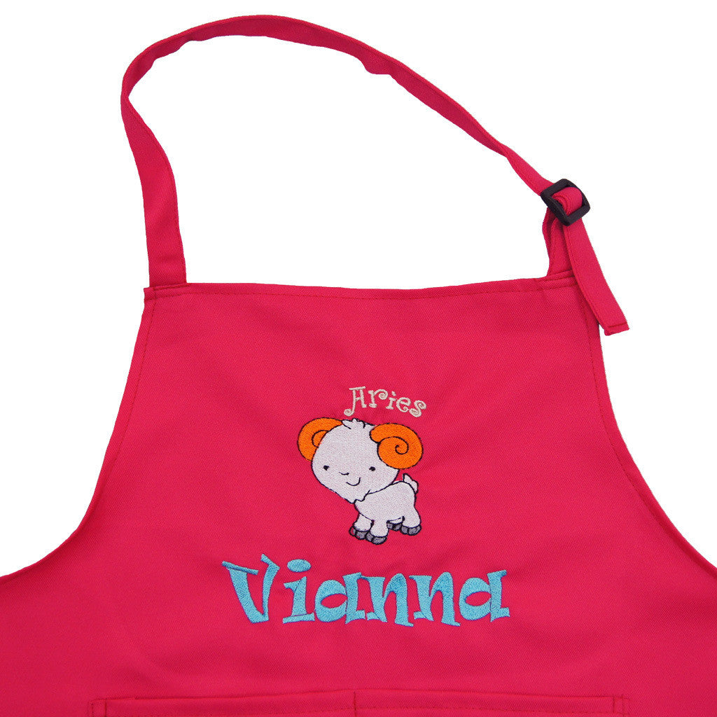 personalised kids chief apron (Pink) with embroidery name