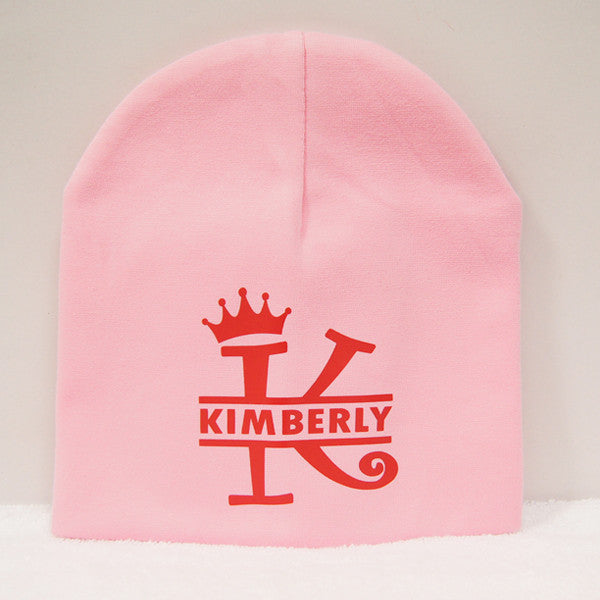 Personalised Pink Baby Beanie with name printing