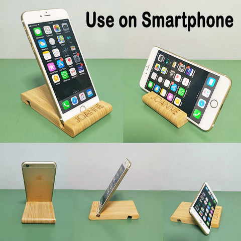 Wooden phone stand with name engraving