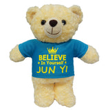 Personalised plush toy teddy bear (blue shirt)
