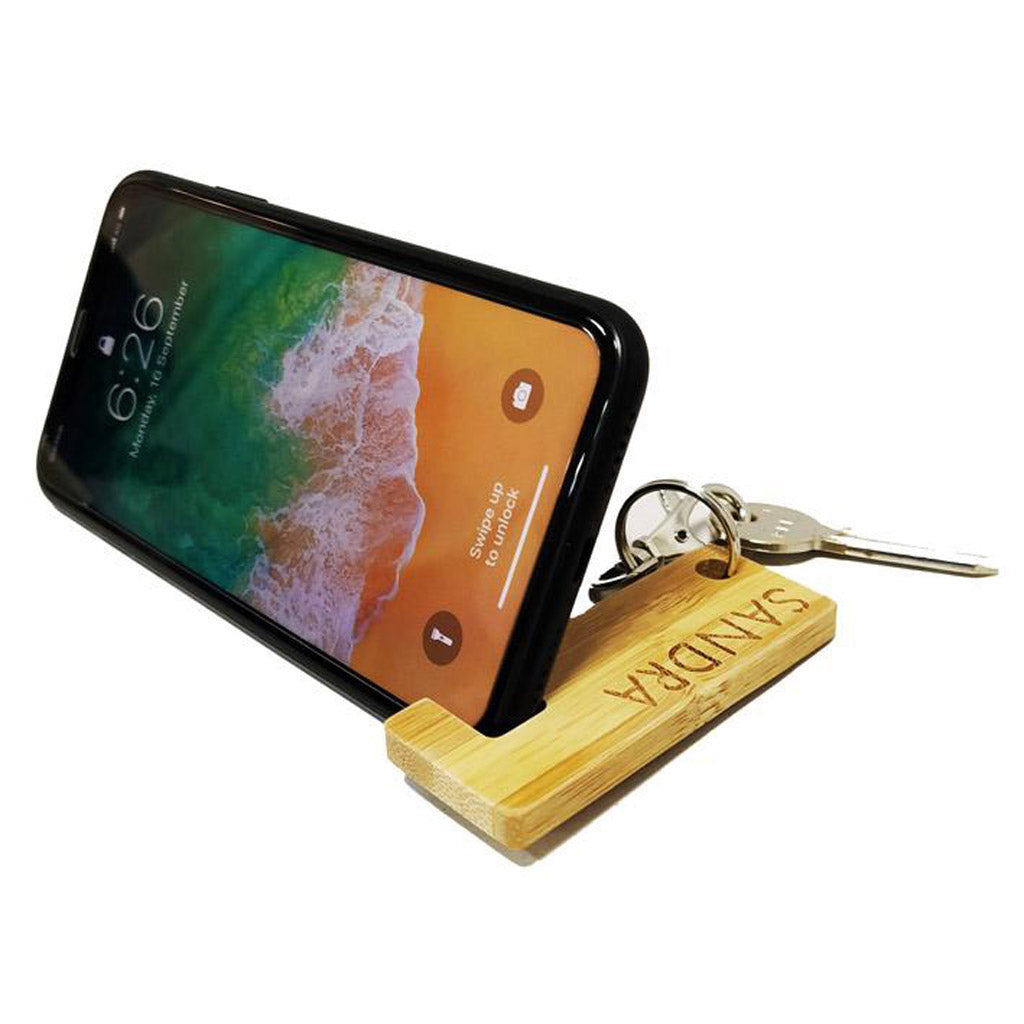 Personalised wood smartphone stand keychain