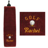 Personalised Embroidery golf towel (maroon red)