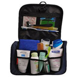 Personalised toiletry bag with many items packed inside