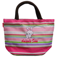 Personalized tote bag (pink) with name embroidery, rabbit design