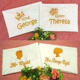 4 pillow case with customized name embroidery