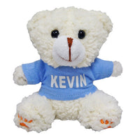Personalised beige teddy bear (blue shirt)