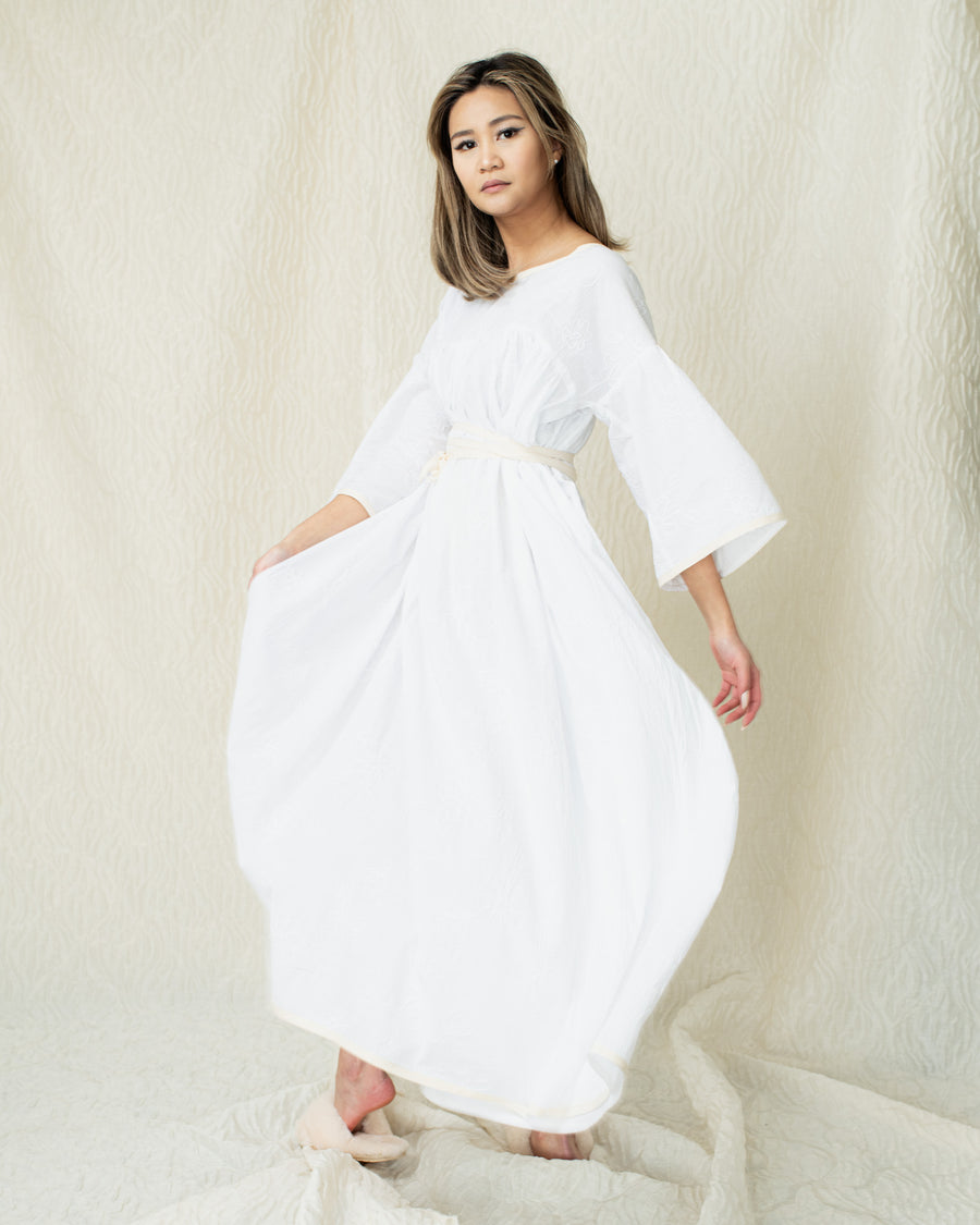 Supersized Embroidered Long Dress in White