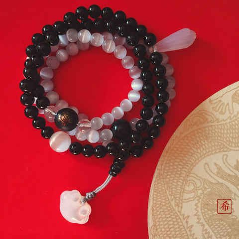 Yin Yang Black Onyx and Cats Eye 108 Beads Bracelet/Necklace - ZentralDesigns