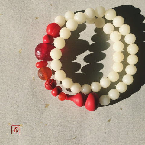 Bottle Gourd Bodhi Seed and Cinnabar Mala Bracelet - ZentralDesigns